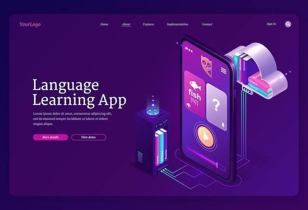 Language learning app web template. mobile online education service, digital training foreign languages