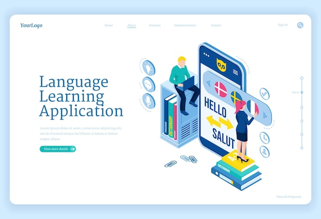 Language learning application landing page