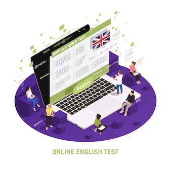 Language learning circular isometric composition with people sitting standing on laptop passing online english test