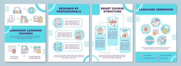 언어 학습 코스 템플릿. 가르치는 전문가. 전단지, 소책자, 전단지 인쇄, 선형 아이콘이있는 표지 디자인. 잡지 레이아웃, 연례 보고서, 광고 포스터