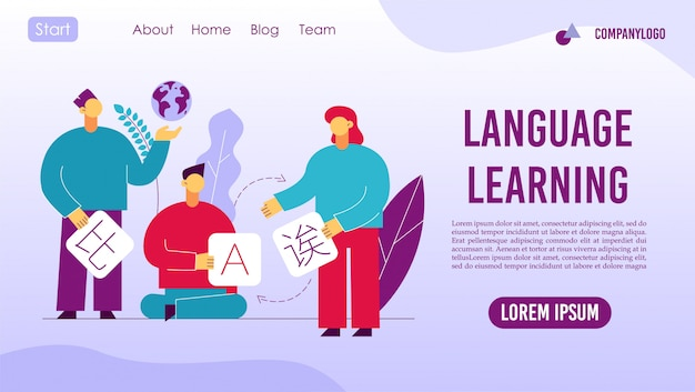 Language learning online service landing page