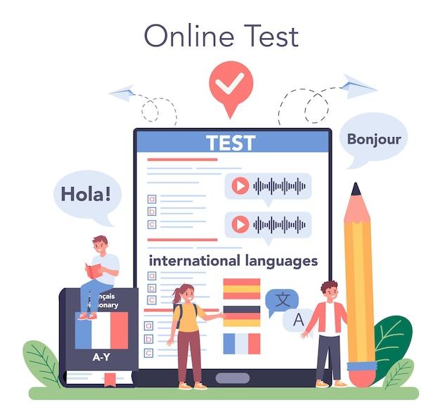 言語学習オンラインサービスまたはプラットフォーム。外国語を教える教授。外国語を勉強している子供たち。オンラインテスト。ベクトルイラスト