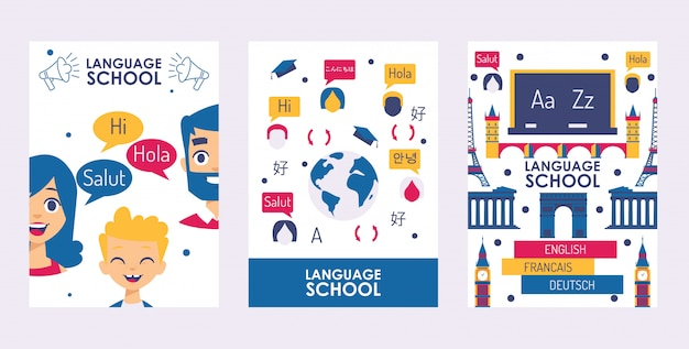 Language school banner, education course book cover