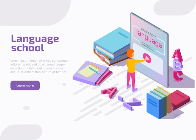 Language school isometric landing page.