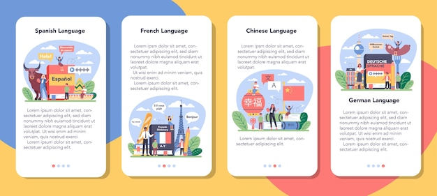 Language school learning mobile application banner set