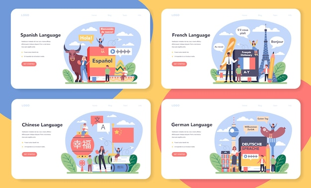 Language school learning web banner or landing page set