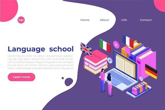 Языковая школа, онлайн-обучение. переводчик изометрический.