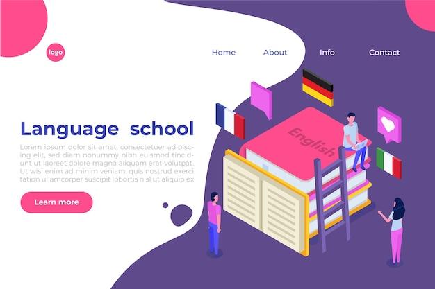 Language school, online learning. translator isometric.