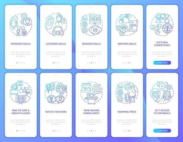 概念が設定されたモバイルアプリページ画面をオンボーディングする語学学習コース