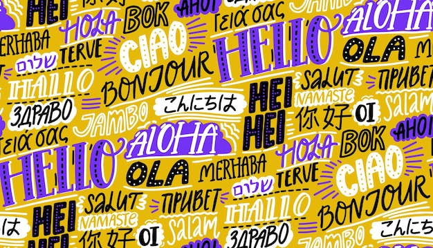 Languages pattern. word hello in english, spanish hola, french bonjur. international background with chinese nihao, hawaiian aloha, russian privet. vector wallpaper texture.