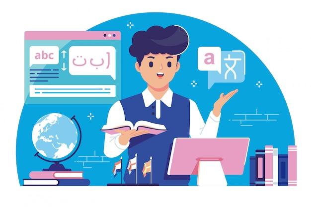 Languages translator flat design illustration