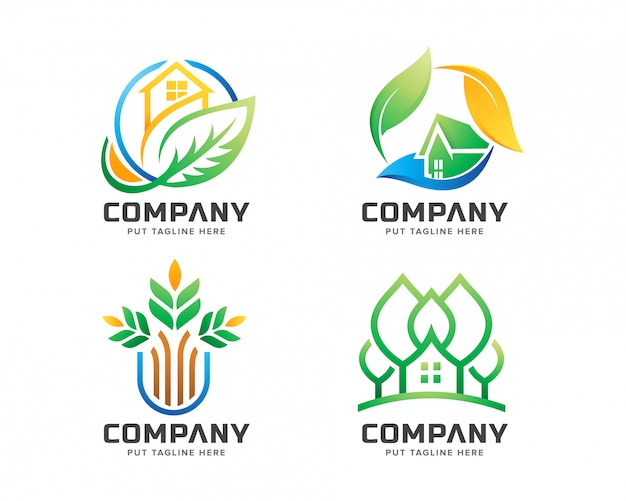 Креативный логотип зеленого дома для компании lanscape