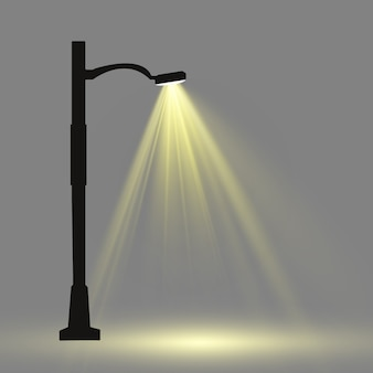 Lantern on the background. bright modern street lamp. vector illustration. beautiful light from a street lamp.