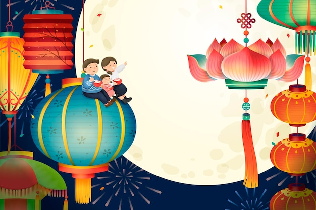 The lantern festival with colorful traditional lanterns and full moon scenery, lovely hand drawn style
