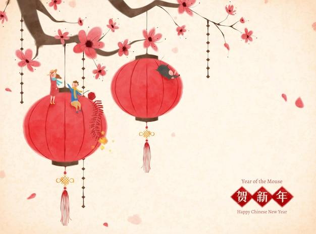 중국 붓 그림 스타일로 미니어처 사람들이 앉아 있는 매화 나무에 매달린 랜턴