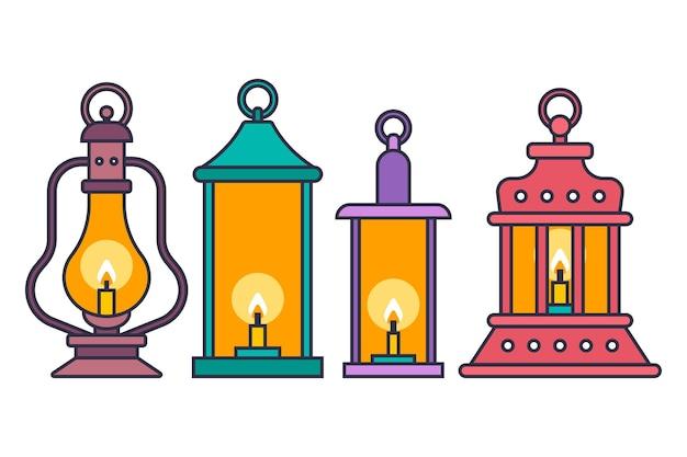 Фонарь лампа со свечами векторный мультфильм набор, изолированные на белом фоне.