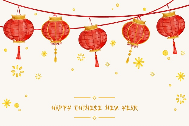 Lantern lunar new year watercolor background