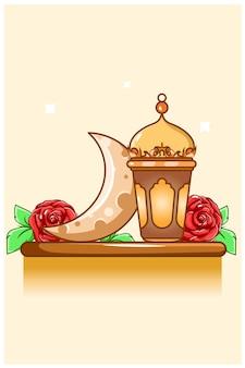 Lantern and moon at ramadan kareem cartoon illustration