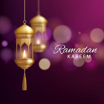 라마단 카림 또는 eid 무바라크 현실적인 인사말 카드의 랜턴