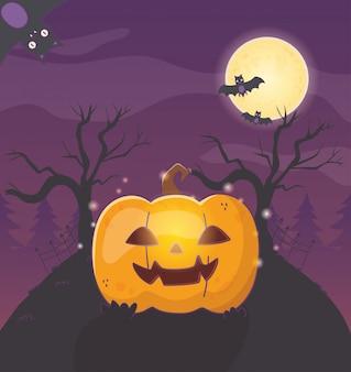 Lantern pumpkin trees bats halloween