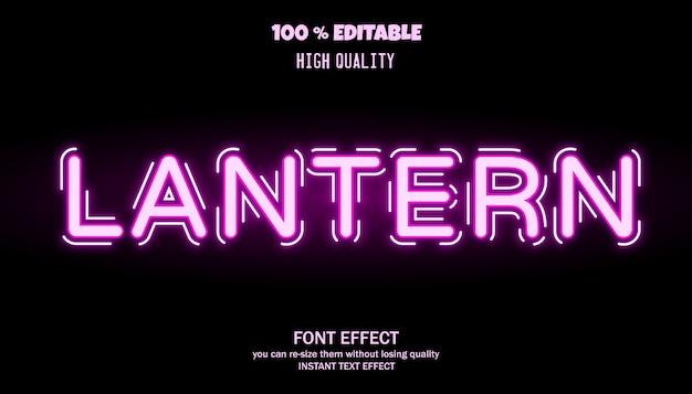 랜턴 텍스트 효과. 편집 가능한 글꼴