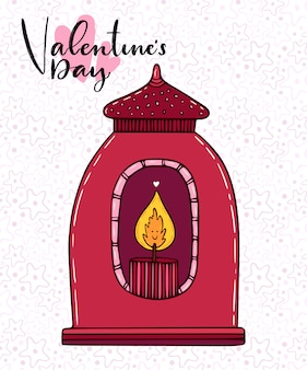 Lantern vector illustration. hand drawn cute doodle candle. greeting card with red lantern.