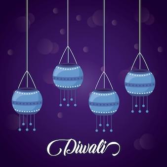 Lanterns hanging diwali festival icons
