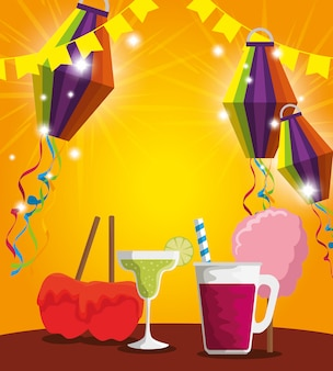 Lanterns with sweet apples and cocktail to party