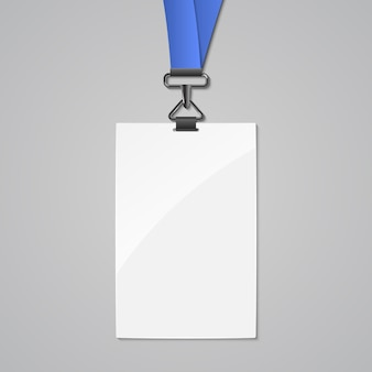 끈 배지 id 카드 템플릿. 회사의 빈 신원 끈 플라스틱 및 금속 태그 디자인 이름.