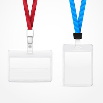 Lanyard with tag badge holder. vector illustration. eps10
