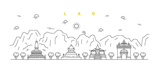 Lao city 현대 평면 선 풍경. 건물 및 사원시 라인 아트 그림
