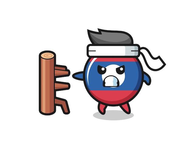 Laos flag badge cartoon illustration as a karate fighter , cute design