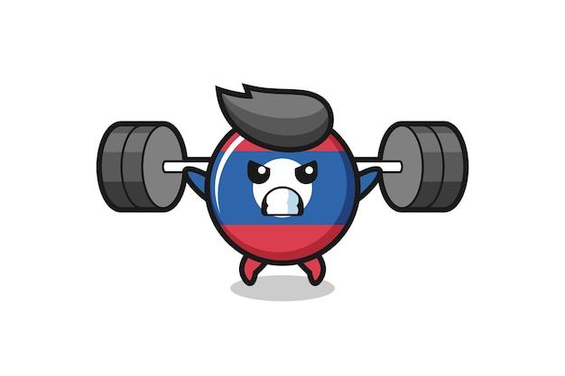 Laos flag badge mascot cartoon with a barbell , cute design