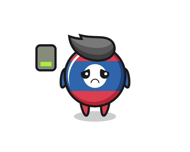 Laos flag badge mascot character doing a tired gesture , cute design