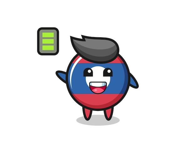 Laos flag badge mascot character with energetic gesture , cute design