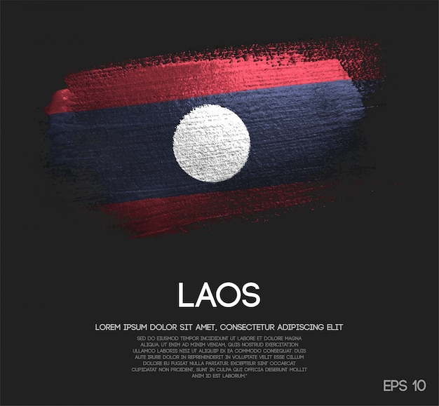 Laos flag made of glitter sparkle brush paint