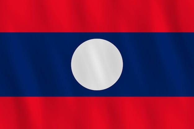 Флаг лаоса с развевающимся эффектом, официальная пропорция.