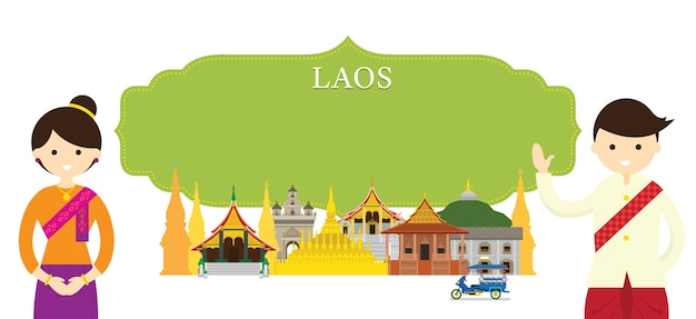 Laos landmarks and traditional clothing