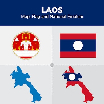 Laos map, flag and national emblem