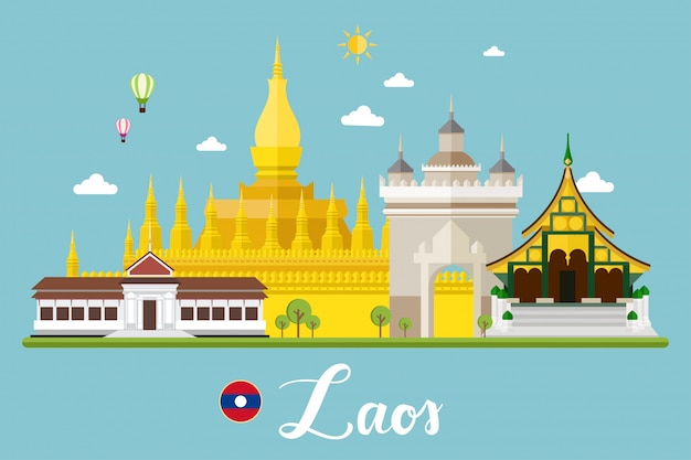Laos travel landscape vector illustration