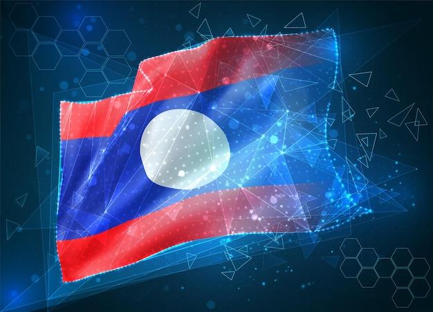 Лаос, векторный флаг, виртуальный абстрактный трехмерный объект из треугольных многоугольников на синем фоне