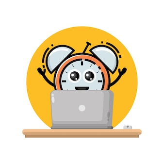 Laptop alarm clock cute character mascot
