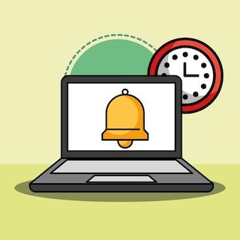 Ноутбук и звонок часы обслуживания клиентов векторные иллюстрации