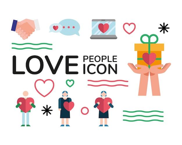 노트북 및 사랑 사람들의 번들 설정 아이콘 및 레터링 일러스트 디자인 프리미엄 벡터