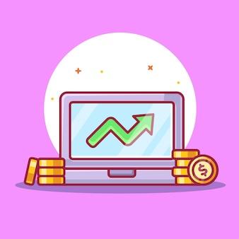 Изолированная иллюстрация ноутбука и монет. иллюстрация вектора значка бизнес-логотипа в плоском стиле