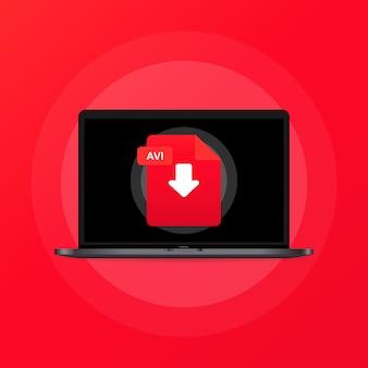 노트북 및 다운로드 avi 파일 아이콘. 문서 다운로드 개념입니다. avi 레이블 및 아래쪽 화살표 기호입니다. 격리 된 배경에 벡터입니다. eps 10.