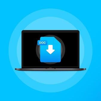 노트북 및 다운로드 doc 파일 아이콘입니다. 문서 다운로드 개념입니다. doc 레이블 및 아래쪽 화살표 기호입니다. 격리 된 배경에 벡터입니다. eps 10.