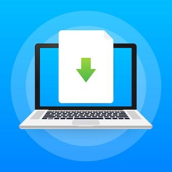 노트북 및 다운로드 파일 아이콘입니다. 문서 다운로드 개념.