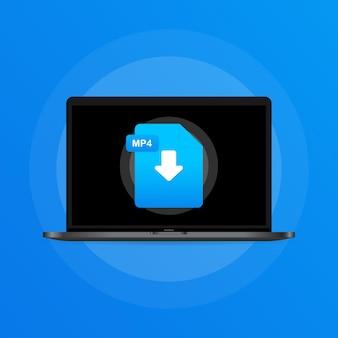 노트북 및 다운로드 mp4 파일 아이콘입니다. 문서 다운로드 개념입니다. mp4 레이블 및 아래쪽 화살표 기호입니다. 격리 된 배경에 벡터입니다. eps 10