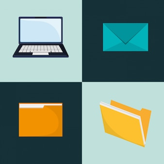 Laptop and envelope icons image